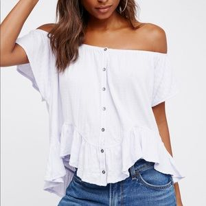Free People We The Free White Mint Julep Tee L